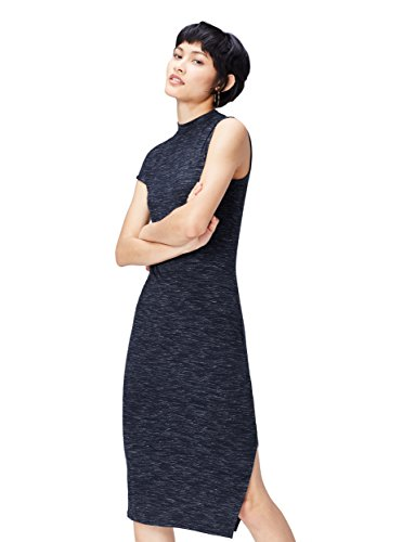 Amazon-Marke: find. Damen Langes Stretch-Kleid mit Space Dye, Blau (Navy), 38, Label: M