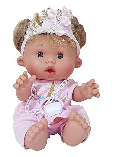 EIMP Muñeca Bebé Julia Nenota con Vestido Rosa Unicornio y con Pelo Regalo para Niñas y Niños