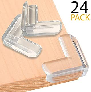 SurBaby | 24 Pack L-Shaped | Clear Corner Protector| High Resistant Adhesive| Baby Proofing| Sharp Table Corner Protector| Baby Safety | Impact Absorbent Furniture Corner Guards |Prevent Injuries
