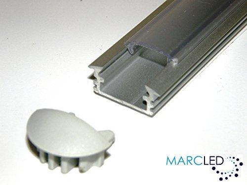 5 x aluminium P1 profiel (geanodiseerd, zilver) voor 1m LED-strips met OPALE afdekking (PMMA) en afdekkappen; aluminium Surface Mounted LED Strip Light Profile; geanodiseerd Silver Set met OPAL Cover (materiaal: PMMA) en twee eindkappen (materiaal: PMMA) en 1000 mm