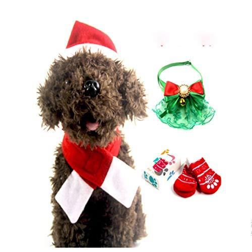 Preisvergleich Produktbild Weihnachten Pet Hat Schal Schal Anzug mit Pet Socken Pet Fliege Dress Up Set