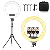 LEDリングライト 撮影照明用ライト 18インチ 調光可能 三脚スタンド 2Mライトスタンド 自撮りライト YouTube生放送/美容化粧/tiktok