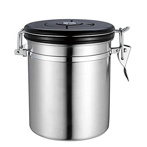 Tanque de Almacenamiento de café en Grano Sellado de Acero Inoxidable con válvula de Escape Tanque de Almacenamiento de té Sellado con rastreador de Fecha (1800 ml),Silver