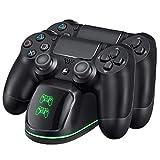VicTsing Cargador PS4 Dual Estación de Carga con indicador LED, Compatible con Playstation4, PS4, PS4 Pro, PS4 Slim Carga Rápida Completa (Cable80CM)