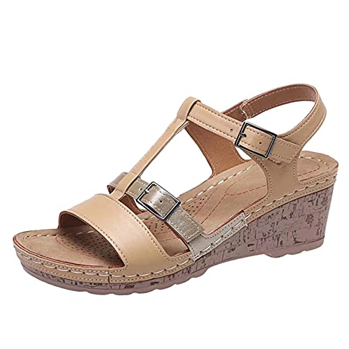 Fullwei Wedges Sandals for Women,Women Boho Orthopedic Sandals Ladies Supportive Double Strap Slip On Embroidered Hollow Out Slide Ankle Strap Walking Beach Sandals Shoe (Khaki-1, 7.5)