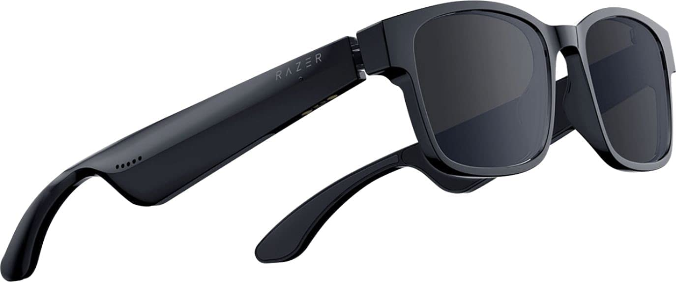 Razer Anzu Smart Glasses: Blue Light Filtering & Polarized Sunglass Lenses - Low Latency Audio - Built-in Mic & Speakers - Touch & Voice Assistant Compatible - 5hrs Battery - Rectangle/Large