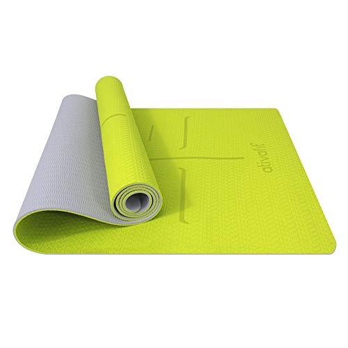ATIVAFIT TPE Gymnastikmatte, rutschfeste Yogamatte Fitnessmatte Trainingsmatte Sportmatte für Fitness Pilates mit Tragegurt - Maße 183*59*0.6 cm