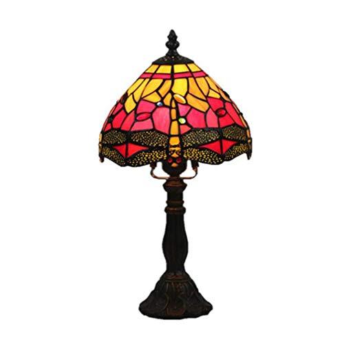 Tafellamp tafellamp retro slaapkamer nachtlampje bar glas in lood lampenkap decoratieve lampen