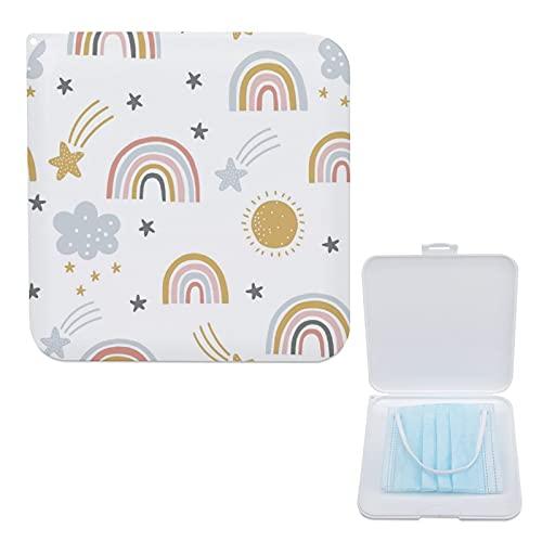 Yumansis Caja Para Guardar Mascarillas, Hermético Estuche Cuadrado Para Almacenar Máscaras Organizador Portátil Plástico Estrellas Arcoiris 13cmx13cm