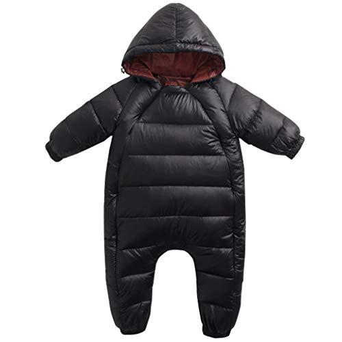 JiAmy Baby Winter Overall Mit Kapuze Schneeanzüge Baumwolle Strampler Dicke Outfits Schwarz 9-12 Monate