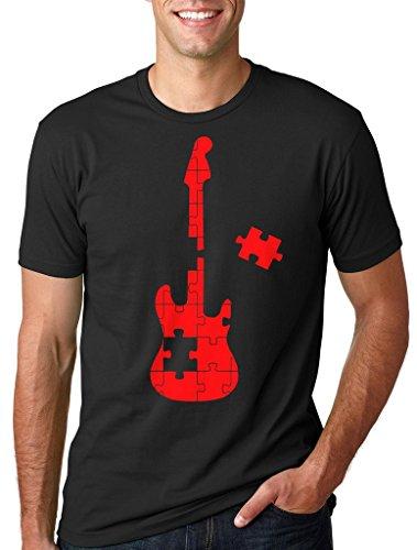 El Autismo Camiseta Puzzle Hombres de la Guitarra Camiseta Small Azul