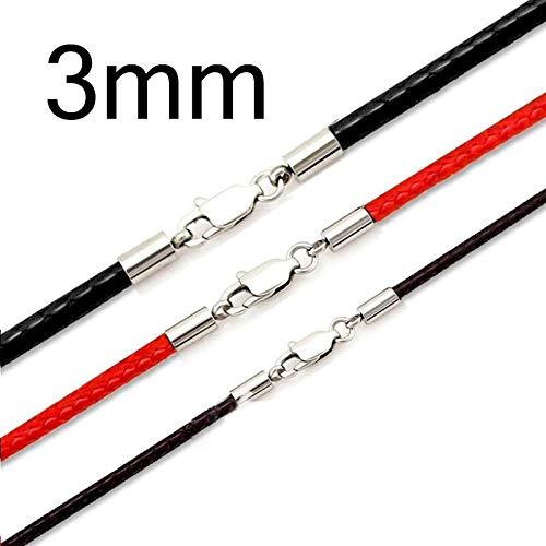 3 unids 50 cm 1-3mm Cuerda de cuero Cuerda de cuero Cuerda Cuerda de acero inoxidable Cierre de langosta Conector Cadena Hombres Mujeres DIY Joyería TL0301 ( Color : Mixed color 3mm , Size : 50cm )