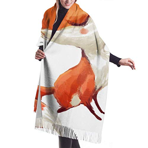 27 'x77' Fransenschals für Frauen Niedlicher Cartoon-Fuchs auf weiß gefärbten Schals für Frauen Einzigartiger Schal Stilvolle große warme Decke