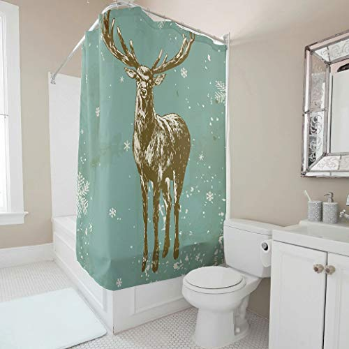 Charzee Duschvorhänge Elch Muster Wasserdicht hochwertige Qualität Grün Vorhang 180x200cm Bad Vorhang mit Vorhanghaken