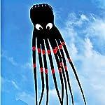 Black 3D 24ft Large Octopus Paul Parafoil Kite Black with Handle & String, Beach Park Outdoor Fun