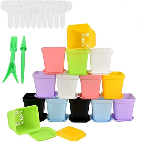 ZILONG 14 PCS Plastic Plant Seedlings Nursery Pot Multicolor Pots Planter Flower Plant Container Seed Starting Pots with Drainage Hole and Pallet &10 Pcs Plant Tag and 2Pcs Transplanting Digging Tool