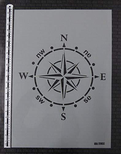 Kompass Schablone groß Nautisch malen Schablone für Wände, Stoffe, Möbel Wohndeko & Basteln Schablone Motiv ist 37x37cm flexible wiederverwendbare Plastik