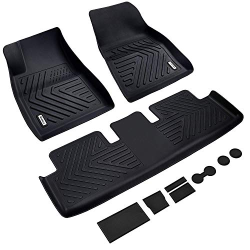 Vanku Complete Set Floor Mats for Tesla Model 3 2017, 2018, 2019, 2020 with Cup and Center Console Liner Accessories Black