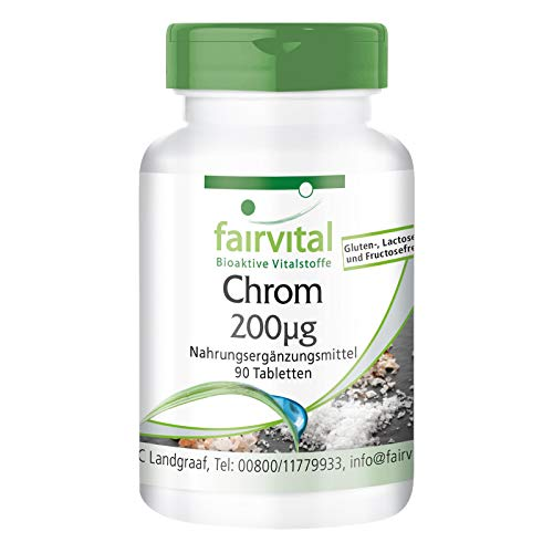 Preisvergleich Produktbild Chrompicolinat - 200mcg Chrom pro Tablette - Hochdosiert - Vegan - Chromium Picolinate - essentielles Spurenelement - 90 Tabletten