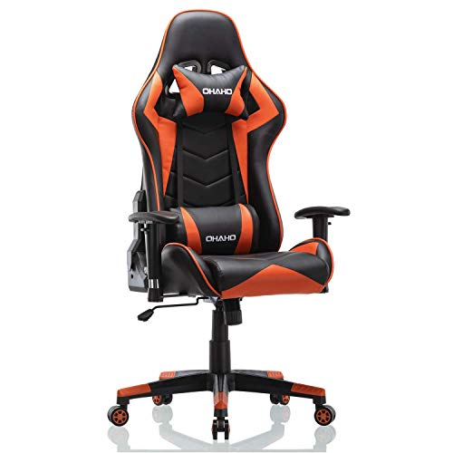 OHAHO Gaming Chair Racing Style Office Chair Adjustable Massage Lumbar Cushion Swivel Rocker Recliner PU Leather High Back Ergonomic Computer Desk Chair with Retractable Armrest (Orange)