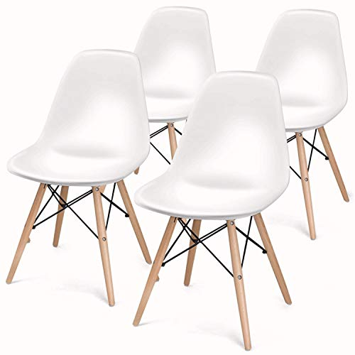 Mid Century Modern DSW Shell Lounge Plastic Kitchen, Dining, Bedroom, Living Room Side Chairs Set of 4, White (White)