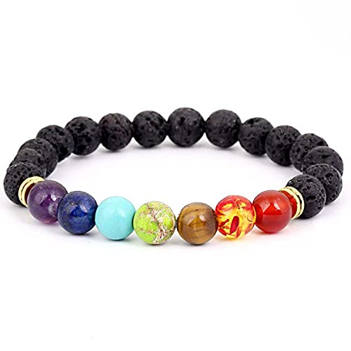 Pulsera de 7 chakras Reiki arco iris cuarzo pulsera para hombres y mujeres yoga meditación oración protección curación equilibrio
