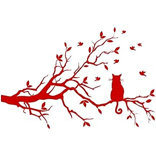 azutura Black Cat Wall Sticker Tree Branch Wall Decal Living Room Kitchen Home Decor available in 5 Sizes and 25 Colours Small Strawberry Red