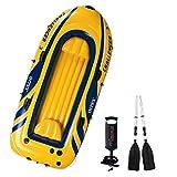 H.aetn Canoa Hinchable Challenger Sea Kayak 2 + 1 Persona con remos de Aluminio y Bomba Manual