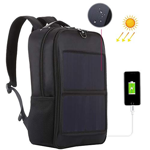 LNLN 14W Solar Panel Power Rucksack Laptoptasche Mit Griff Und 5V / 2.1A Max Dual USB Ladeanschluss, Komfortabel, Atmungsaktiv Und Wasserdicht (Schwarz)