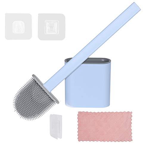Vicloon Toilettenbürsten, WC Bürste und Halter mit Putztuch, Silikon Klobürste und Langer Stiel klobürste Aufgehängt für Badezimmer oder Gäste-WC - Blau