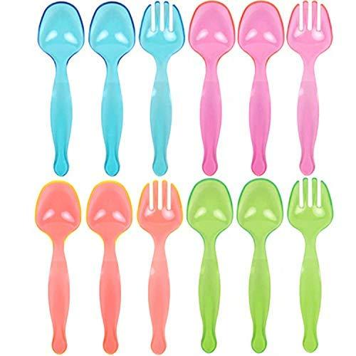 TigerChef Salad Serving Forks And Spoons Set Neon Glow In The Dark Under Blacklight Colored Heavy Duty Disposable Plastic Serving Set In Pink Blue Green Orange Set Of 12 Serving Utensils Multicolor