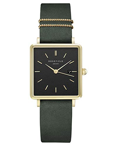 Rosefield Damen Analog Uhr The Boxy Black Forest Dunkelgrün Gold QBFGG-Q031