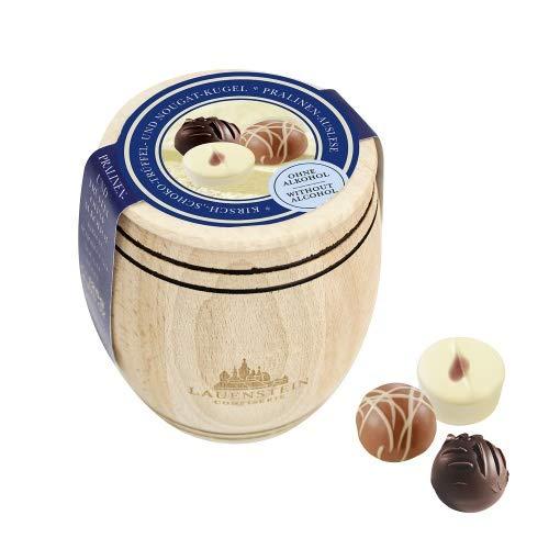 Lauensteiner Holzfässchen125g mit 3 verschiedenen Trüffeln und Pralinenalkoholfrei,ein schönes Geschenk für viele Anlässe oder einfach zum Genießen für die ganze Familie, 1er Pack