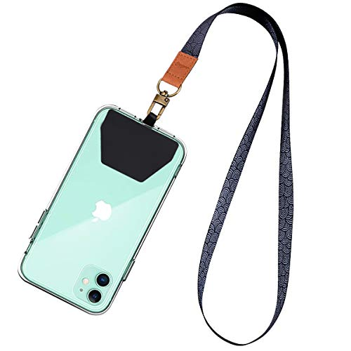 Supgear Black Lanyard with Phone Holder, Neck Strap for Women and Girls Wristlet Keychain Premium Printed Keychain Lanyard for Key, Mobile Phone, Card Holders and ID Badges