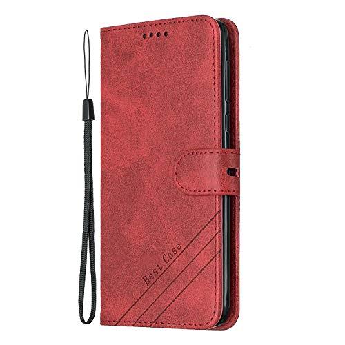 Lomogo [Moto G6 Plus Hülle Leder, Schutzhülle Brieftasche mit Kartenfach Klappbar Magnetisch Stoßfest Handyhülle Case für Motorola Moto G6Plus - LOHEX120461 Rot