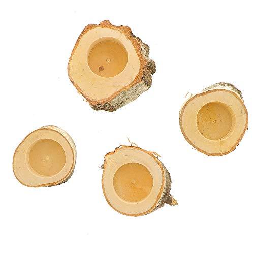4X HOFMEISTER® Teelichthalter aus Birken-Holz, Kleiner Kerzenhalter im Birken-Baumstamm, 5,5 x 7,5 x 7,5 cm