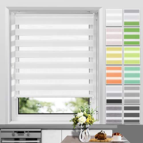 Allesin Doppelrollo Duo Rollo Klemmfix ohne Bohren, Rollo für Fenster und Tür, Seitenzugrollo Easyfix, lichtdurchlässig und verdunkelnd, sichtschutz und Sonnenschutz, 50 x 150 cm Weiß