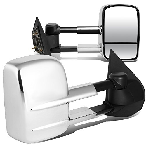 Pair Chrome Manual Telescoping Folding Side Towing Mirrors Compatible with Ford...