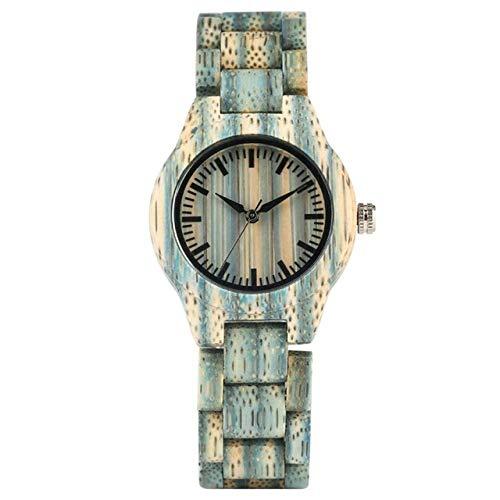 IOMLOP Reloj de Madera, Reloj de Madera Colorido de Lujo Superior, Reloj de Madera de bambú Completo de Cuarzo para Mujer, Reloj de Pulsera de Color Caramelo para Mujer, 2