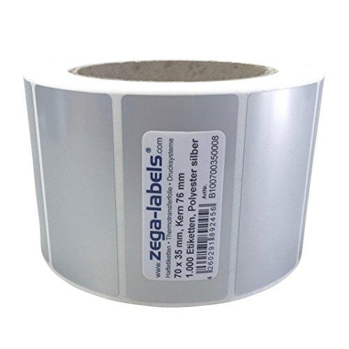 Polyester Thermotransfer Etiketten auf Rolle - 70 x 35 mm - aus PET Polyesterfolie silber für Typenschilder - 1.000 Stück je Rolle - Kern: 76 mm - aussen gewickelt - stark haftend - Druckverfahren: Thermotransfer (Drucken mit Farbband)