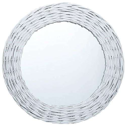vidaXL Espejos Mimbre para Maquillaje Mueble de Cuarto Baño Redondo Decoración Pasillo Hogar Oficina Dormitorio Colgar en Pared 70cm Blanco