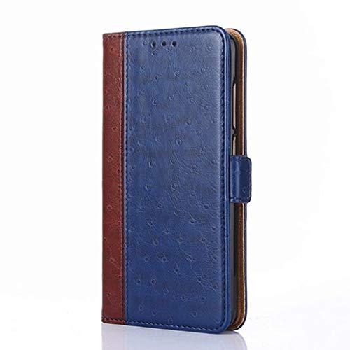 GOGME Hülle für LG K52, Premium Leder Flip Schutzhülle Doppelt Magnetic Snap mit [Kartenfächer] [Ständer Funktion] Hülle Cover Brieftasche Handyhülle, Blau