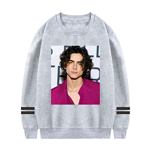 BatteeFF Timothee Chalamet Round Neck Sweater, Anime Hoodie, Teen Casual Sports Youth for Womens Gray