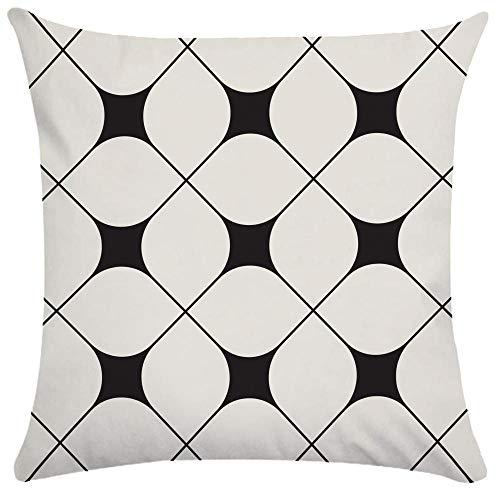 Caogsh 2 fundas de cojín, almohada lumbar de felpa corta, funda de almohada para sofá, funda de almohada creativa con patrón de textura geométrica en blanco y negro, algodón mixto, Zt001833, 50x50cm(Single sided print)