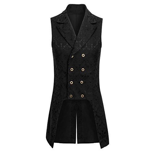 Jila Adult Mens Double Breasted Gothic Steampunk Costume Tailcoat Vest Victorian VTG Brocade Waistcoat (X-Large, Black)