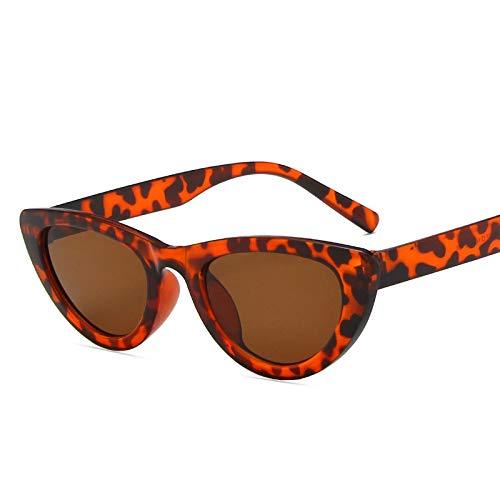 NJJX Gafas De Sol De Ojo De Gato Para Mujer, Gafas De Sol Triangulares Vintage Para Mujer, Montura Pequeña, Vintage Black Leopardtea