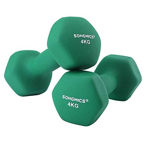 SONGMICS Kurzhanteln, 2er Set, 4 kg, Krafttraining, zu Hause, im Büro, Fitnessstudio, schwarz SYL68GN