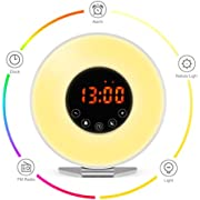 Wake Up Light Alarm Clock - 7 Color Light - Sunrise Simulator with Night Light - with Nature Sounds or FM Radio Alarm - USB Charger - Touch Control - for Heavy Sleepers & Kids