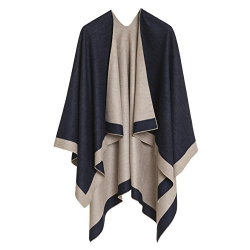 Women's Shawl Wrap Poncho Ruana Cape Cardigan Sweater Open Front for Spring Fall (PC01-2D)