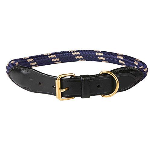 Weatherbeeta - Collar de soga y cuero para perros (L) (Azul Marino/Marrón)